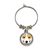 Pembroke Welsh Corgi Face - Dog Pet Wine Glass Charm Drink Stem Marker Ring