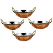 Indian Copper/Steel Serveware Karahi vegetable Dinner Bowl Set of 4