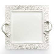 American Atelier Bianca Leaf Square Platter with Handles