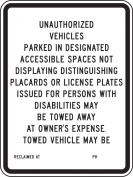"Accuform Signs FRA189RA Engineer Grade Reflective Aluminium Handicap Parking Sign, For California, Legend ""unauthorised VEHICLES PARKED IN DESIGNATED ACCESSIBLE SPACES NOT DISPLAYING DISTINGUISHING PLACARDS OR licence PLATES ISSUED FOR PERSONS WITH DIS .."