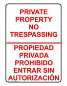 ComplianceSigns Vinyl Private Property Label, 25cm x 18cm . with English + Spanish, White