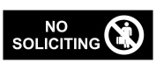 ComplianceSigns Engraved Acrylic No Solicitation Sign, 20cm x 7.6cm . with English, Black