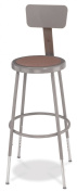 National Public Seating 6224HB Grey Steel Stool with Hardboard Seat Adjustable and Backrest, 60cm - 80cm