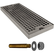 Kegco DP-125-D Surface Mount Drip Tray - 30cm Stainless Steel with Drain