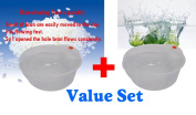 Rice Becomes Delicious - Japanese Rice & Vegetable Washing Bowl with Side and Bottom Drainers Value Set of 2 Bowls
