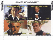 James Bond 007 stamps for collectors with Sean Connery, Roger Moore, Daniel Craig and Pierce Brosnan - 2014 - Chad - never mounted and never hinged