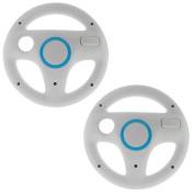 GTMax 2 Pack White Mario Racing Steering Driving Wheel for Nintendo Wii