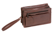 "Men's wrist bag LEAS, Genuine Leather, brown - ""LEAS Men's Bags"""