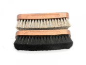 Horse Hair Brushes for Buffing and Polishing -Double Pack in Natural and Black
