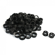 100 Pcs 19mm x 14.3mm Black Cable Hose Harness Protective Snap Bushing