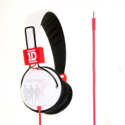 """One Direction Headphones with Cable Tidy, volume & mic control """"Line Up"""" folding design - White"""