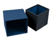 Lucrin - Squared tissue box holder - Smooth cow - Leather - Royal Blue