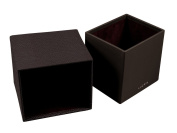 Lucrin - Squared tissue box holder - Granulated cow - Leather - Burgundy