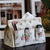 Soft Fabric Cotton Pastoral Flower Patterns 6 Pocket Moisture-proof Multifunctional Holder Storage Tissue Box