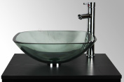 BATHROOM CLOAKROOM COUNTERTOP CLEAR GLASS SQUARE BOWL BASIN SINK