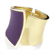 Ladies Womens Girls Gold Colour & Purple Snakeskin Effect Hinged Bangle 7CM