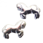 PAIR of HORSE Stud Earrings 925 Sterling SILVER 6.3mm x 8mm NEW - Pony