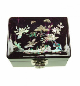Small purple jewellery box, fancy asian box lacquered and decorated with natural mother of pearl - Korean crafts, design plum blossom