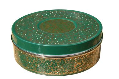 Green & Gold Designed Handpainted Masala Dabba