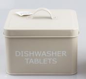 Vintage Retro Style Dishwasher Tablets Tin Storage Box