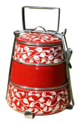 3 Tier Pyramid Red Handpainted Tiffin