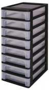 Drawers, Storage drawers with 8 drawers, Plastic drawers black, Drawers, Drawer tower unit eight drawers, Drawer organiser, Plastic office drawers - OCH-2080