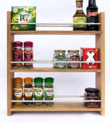 Solid Oak Spice Rack - Holds Up To 24 Spice and Herb Jars - Deep Capacity for Larger Jars and Bottles