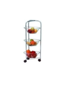 3 Tier Round Fruit Vegetable Storage Rack Chrome Trolley Brand New