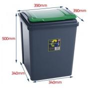 50 Litre Recycling Bin - Green Flap/Lid