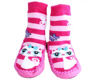 Baby Girl Toddlers Kids Indoor Slippers Shoes Socks Moccasins NON SKID PINK STRIPED KITTY CAT