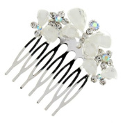 Glam White Stone Triple Butterfly Hair Comb Slide - Free Gift Pouch / Box - BHC0198