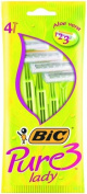 BIC Pure 3 Lady, Pack 4, Triple Blade Razor