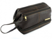 Mens Rowallan Brown Leather Top Frame Wash Bag Travel Toiletries Travel .