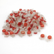 100 Pcs Data Phone Wire Butt Splice 3 Ports UR Connectors Red Clear