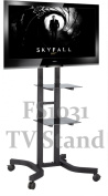 FS1031 Exhibition Display Stand TV Trolley Floor Stand w/ Mounting Bracket for LCD/Plasma TVs & Two Black Glass Shelves