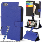 Madcase Apple iPhone 5 5s Premium Leather Wallet case Stand Cover incl. Screen Protector and Stylus Touch Pen - Blue