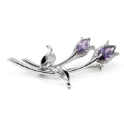 Glamorousky Elegant Flower Brooch with Silver and Purple. Element Crystals