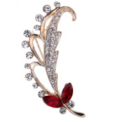 YAZILIND Jewellery Cute Gold Plated Butterfly Hollow Carve Round Red Waterdrop Brooches and Pins for Women Gift