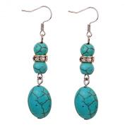 Yazilind Jewellery Charming Tibetan Silver Crystal Oval Rimous Turquoise Drop Dangle Earrings