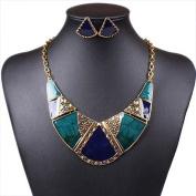 Chunky Women's Blue Enamel Tibet Silver B Bib Necklace Stud Earrings Set