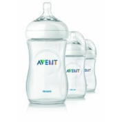 Philips Avent Bpa Free Natural Polypropylene Bottles W/ Soft And Breast-Shaped Nipples 270ml Count 3