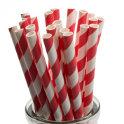 Red Striped Paper Straws x 100