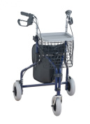 NRS Healthcare Rollator, Three Wheel Walking Aid M85577 with Basket & Tray– BLUE