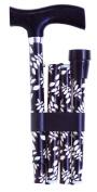 Essentials Adjustable Folding Walking Sticks in Black and Cream Leaf Design