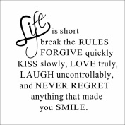 Life is short DIY Removable Art Vinyl Quote Wall Sticker Decal Mural Home Room Decor