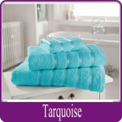 Egyptian Cotton Towel Luxury Pair Of Bath Sheets 100% Cotton 600gsm Satin Stripe Towel, Turquoise