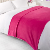 Dreamscene Plain Fleece Blanket, Fuchsia, 120 x 150 Cm
