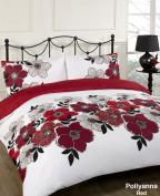 Pollyanna Red Floral White Black Reversible Double Duvet Quilt Cover Bedding Set