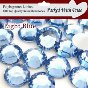Pack of 1000 x Light Blue 4mm Crystal Flat Back Rhinestone Diamante Gems *Factory Sealed & Labelled*