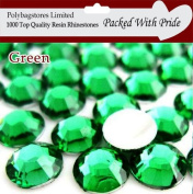 Pack of 1000 x Green 4mm Crystal Flat Back Rhinestone Diamante Gems *Factory Sealed & Labelled*